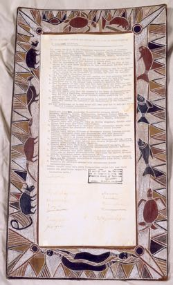 The Yirrkala bark petitions were tabled in Parliament in August 1963. Image courtesy of the House of Representatives, Australian Parliament House.
