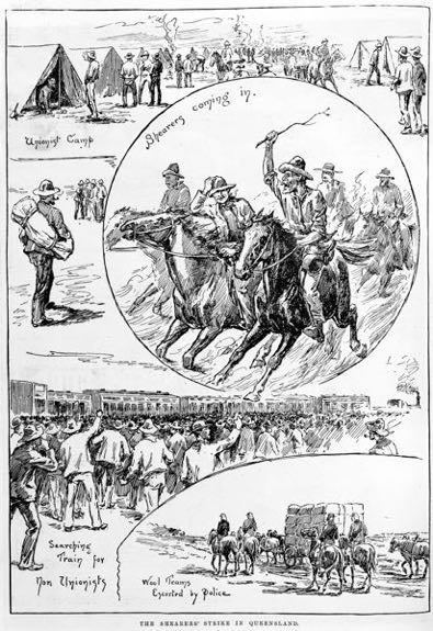 'The Shearers' Strike in Queensland'. Illustrated Australian News 1 April 1891. State Library of Victoria IAN01/04/91/13.